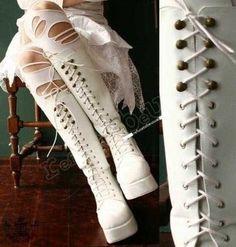 'Gothic Lolita Lace up CORSET Platform Knee Boot'