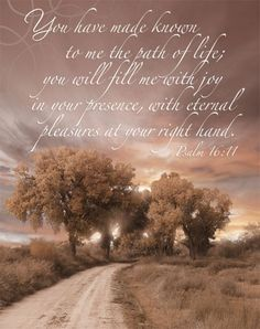 "Psalm 16:11. ""You have made known to me the path of life; you will fill me with joy in your presence with eternal pleasures at your right hand."" ❤❤❤"