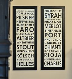 Pair of 36 x 1175 Canvas Beer and Wine Bus Scrolls by SadiesCanvas