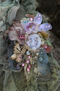 Delicate spring brooch - bold ornate brooch , antique lace, embroidered and beaded brooch, mixed media by FleursBoheme on Etsy https://www.etsy.com/au/listing/588798226/delicate-spring-brooch-bold-ornate