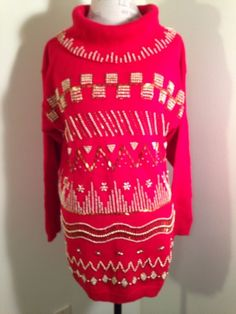 VICTORIA JONES UGLY? Red Cowl Neck Holiday Christmas Sweater Gold Beads Womens M