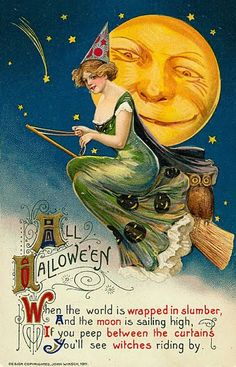 The nice witch atop her broom, sailing through the full moon, Halloween