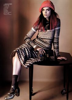 Meghan Collison & Sun Feifei by Josh Olins in Knits Mania for Vogue China October 2010