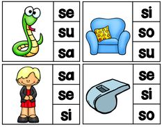 Spanish Clip It Center - Kids mark their answer with a clothespin. What is the initial syllable sound? SA, SE, SI, SO, SU rompecabezas para las silabas iniciales Spanish Teaching Resources, Spanish Activities, Hands On Activities, Literacy Activities, Abc Centers, Bilingual Education, Kindergarten Math, Preschool, Speech And Language
