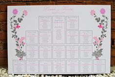 Autumn roses wedding seating chart digital file by BlushNotes. $50.00, via Etsy.