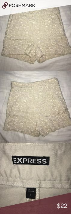 Crochet shorts Ivory high waisted crochet bottoms. Zips on the side. Express Shorts