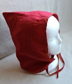 Hand Sewn and Embroidered Red Linen Viking Jorvik Cap Norse Hat for Women. $50.00, via Etsy.