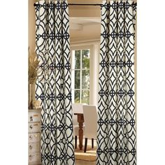 Grid Design Navy Curtain Panel Pair