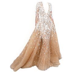 satinee.polyvore.com - Zuhair Murad Couture ❤ liked on Polyvore featuring dresses, gowns, long dresses, vestidos, satinee, beige long dress, couture ball gowns, beige dress and couture dresses