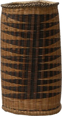 Africa | Unusual Tutsi Cylindrical Basket. Rwanda or Burundi, Great Lakes of Central Africa | Circa 1900