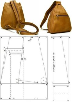 Leather Backpack Pattern, Leather Pattern, Leather Handbags, Leather Wallet, Diy Sac, Diy Handbag, Leather Bags Handmade, Tote Bags Handmade, Bag Patterns To Sew