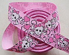 Pink Skull Baby Shower | Pink Skulls ribbon. cool place on etsy to buy ribbon.