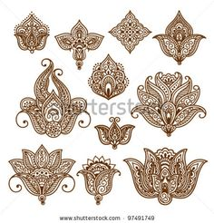 Ornamental flowers, abstract floral elements in indian style