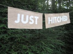 Burlap Banner Rustic Wedding Sign Just Hitched by YourDivineAffair, $24.95