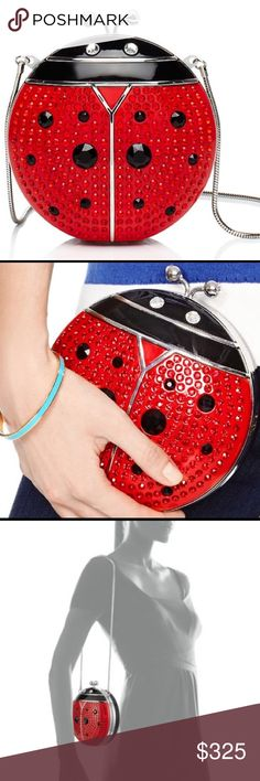"""kate spade spring forward ladybug clutch kate spade new york resin clutch Rhinestone encrusted ladybug. Round, resin hard-shell case. Snake cable chain; 14.25"""" drop. Snap top. Logo jacquard lining; center zip pocket. 6""""H x 6""""W x 1.25""""D. Brand new. kate spade Bags Clutches & Wristlets"""