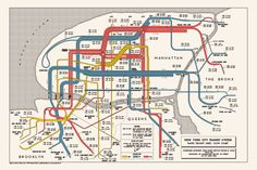 1954 Manhattan Rapid Transit Flow Diagram (NYC, MTA)
