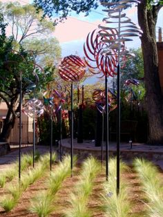 Mark White metal kinetic sculptures in Santa Fe. Some of my FAVORITE sculptures.