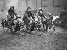 Three women riding motorbikes at the ACU Trials in Birmingham, England, 1923.  Topical Press Agency / Getty Images