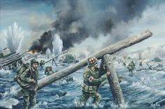 D-Day, 6 June 1944 by Roger King: The Scene Depicts The Bitterly Contested US Landings on Omaha Beach. Military Art, Military History, D Day 1944, Omaha Beach, Army Drawing, D Day Normandy, Patriotic Pictures, D Day Landings, Military Drawings
