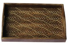 Bulk Wholesale Handmade Rosewood Serving Tray with Wavy Carving in Golden Color – Kitchen Accessories – Home Essentials Handmade Decorations, Handmade Crafts, Table Decorations, Table Accessories, Kitchen Accessories, Wooden Trays, Serving Trays With Handles, Coffee Table Tray, Golden Color