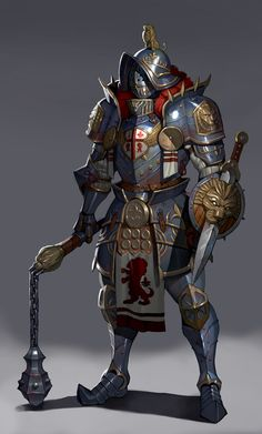 heavy armor by brush dog on ArtStation. Fantasy Character Design, Character Design Inspiration, Character Concept, Character Art, Fantasy Armor, Fantasy Weapons, Dark Fantasy Art, Medieval Armor, Medieval Fantasy