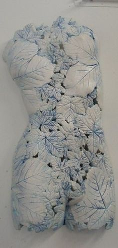 """Leaves Torso White Blue"", Ceramic by Artist: Barry Guppy"