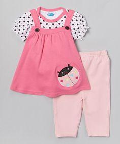 This bon bébé Pink Ladybug Layered Tunic & Leggings - Infant by bon bébé is perfect! #zulilyfinds