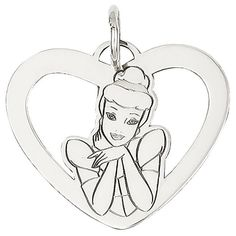 Versil Sterling Silver Disney Cinderella Heart Charm