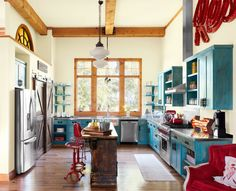 This cook space is chock-full of kick-off-your-boots charm.