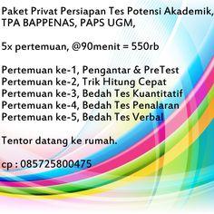 Privat Persiapan Tes Potensi Akademik, TPA BAPPENAS, PAPS UGM. CP: 085725800475