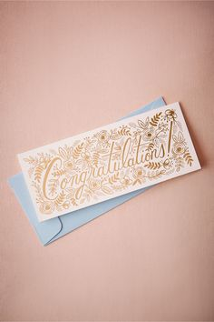BHLDN Champagne Floral Congrats Card in  Décor Stationery at BHLDN