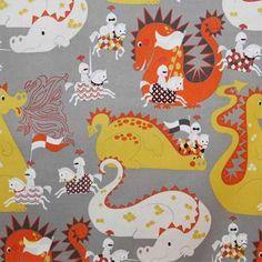 Latest Designer Fabric 'Knight meets Dragon fabric in grey' by Alexander Henry (USA). Orla Kiely Fabric, Marimekko Fabric, Cushions Online, Designers Guild, Japanese Fabric, Fabric Online, Fabric Swatches, Nursery Ideas, Bedroom Ideas