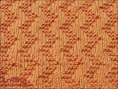 zigzag Cast on multiple of 6 sts. Row 1 (right side): * Knit 3, purl 3; repeat from * to end. Row 2 and all wrong side rows: Purl all sts. Row 3: Purl 1, * knit 3, purl 3; repeat from * to last 5 sts, knit 3, purl 2. Row 5: Purl 2, * knit 3, purl 3; repeat from * to last 4 sts, knit 3, purl 1. Row 7: * Purl 3, knit 3; repeat from * to end. Row 9: As 5th row. Row 11: As 3rd row. Row 12: Purl all sts.