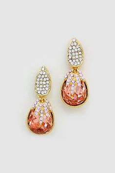 Orange Gemstone Crystal Earrings