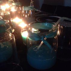 Tiffany Jars with Tiffany Blue Cocktail - details in Tiffany