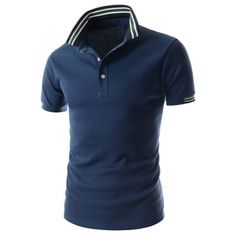 Just US$15.30, buy Blue Refreshing Turn-down Collar Stripes Splicing Fitted Short Sleeves Men's Polyester Polo T-Shirt online shopping at GearBest.com Mobile.