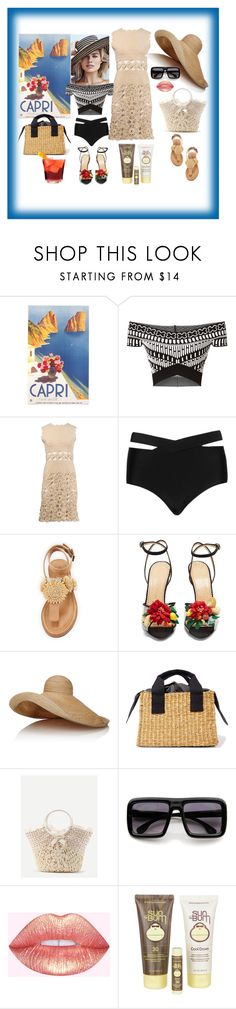 """""""Ciao Capri"""" by digsystuff ❤ liked on Polyvore featuring Roland Mouret, Cactus, Bettye, Charlotte Olympia, Lola, Muuñ, WithChic, ZeroUV and Sun Bum"""