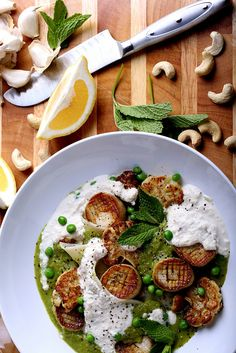 Olives for Dinner | Vegan Recipes and Photography: Caramelized Vegan Scallops in Pasta with a Minted Pea Puree