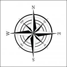 Nautical Compass Drawing | Nautical Compass Wall Sticker