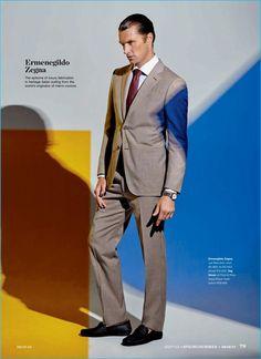 South African model Shaun DeWet wears a neutral suit from Ermenegildo Zegna.