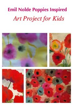 Remembrance day poppy art project: Emile Nolde Poppies Art Project for Kids Art Lessons For Kids, Art Lessons Elementary, Projects For Kids, Art For Kids, Art Projects, Emil Nolde, Kindergarten Art, Preschool Art, Remembrance Day