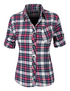 LE3NO Womens Casual Cotton Plaid Pull-On Button Down Shirt