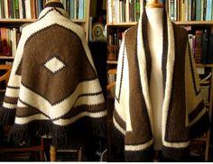 c4cae9334a0 Vintage 1970 s Aztec native pattern alpaka wool cape chunky handknit  sweater brown S M L fringe hippie blanket