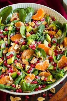recetas-de-ensaladas-con-espinaca-tangerinas-y-granada