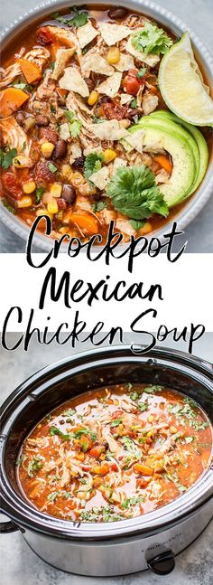 This Crockpot Mexican chicken soup is fresh, tangy, and comforting. Set it and forget it, and you'll come back home to a wonderful healthy homemade soup! #chickensoup