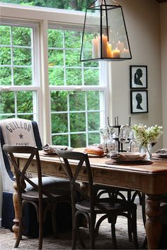 light fixture + table place setting.