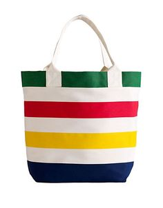 The HBC Multi Stripe Canvas Tote features the iconic stripes and is perfect for toting your beach essentials. Find it at  Hudson's Bay.
