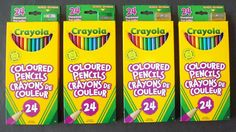 Four Packs Crayola (Hallmark Co.) Coloured (Color) Pencils With Bonus Sharpener #Crayola