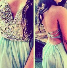 Mint Backless Prom Dress Short Chiffon Prom by RomantourBridal, $169.99