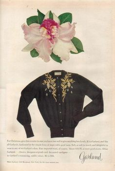 Garland ad featuring a beautiful black and gold cardigan (1953).